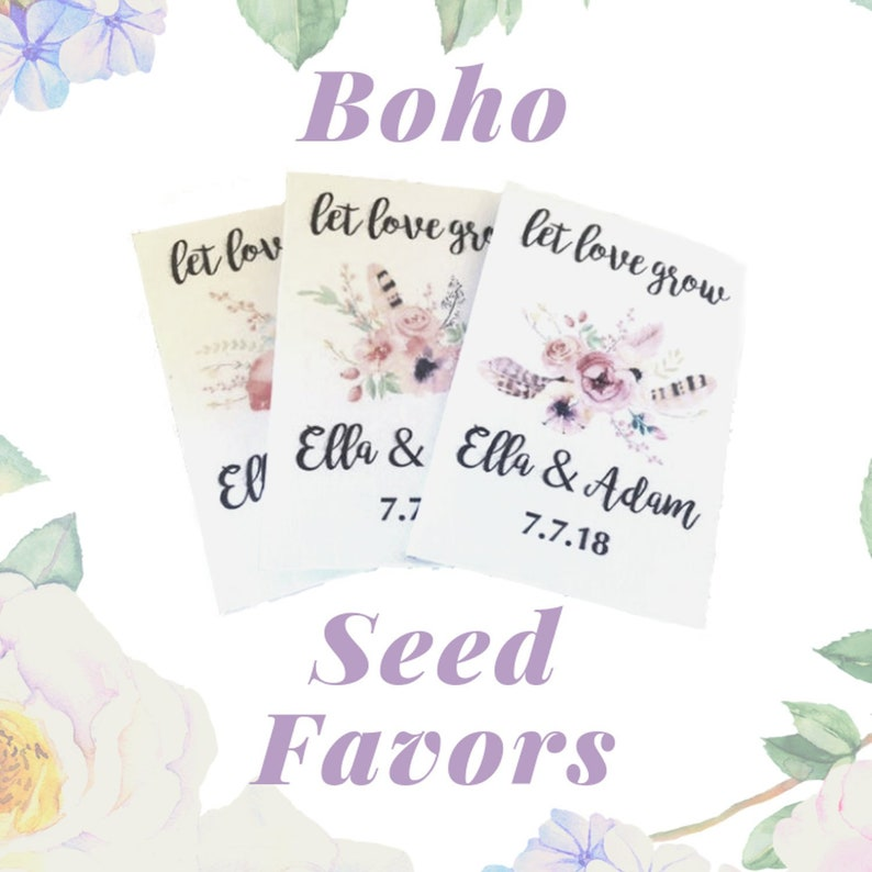 bohemian wedding favors boho favors for personalized wedding seed packets
