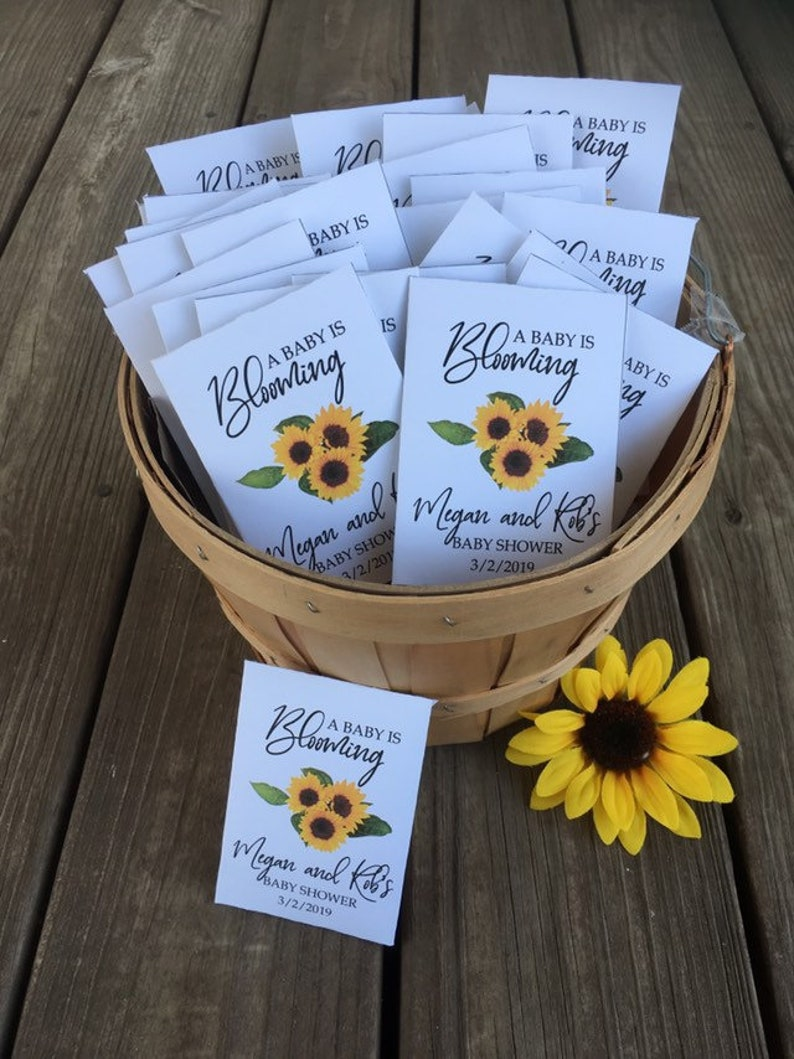0bb1f42131f7c Sunflower baby shower favors, sunflower baby favors, personalized sunflower  seed packets, custom sunflower baby favors
