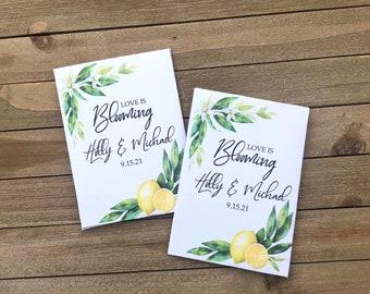 lemon seed packet wedding favors, lemon wedding favors, citrus wedding favors, lemon party favors, lemon wedding decorations