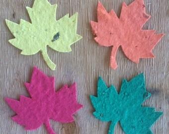 25 Plantable Paper leaf favors, fall wedding favors, fall seed favors, plantable wedding favors, plantable paper favors,autumn wedding favor