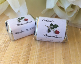 300 Personalized Quinceanera Candy Wrappers,candy bar wrappers, quinceanera favors,quinceanera party favors, sweet 15 favors,birthday favors