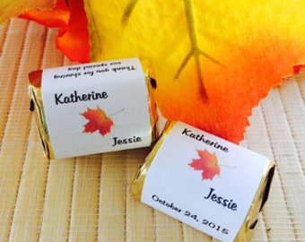 Fall Candy Wrappers, fall candy bar wrappers, fall wedding favors,fall leaves  wrappers, leaf wedding favors, fall bridal shower,leaf favors