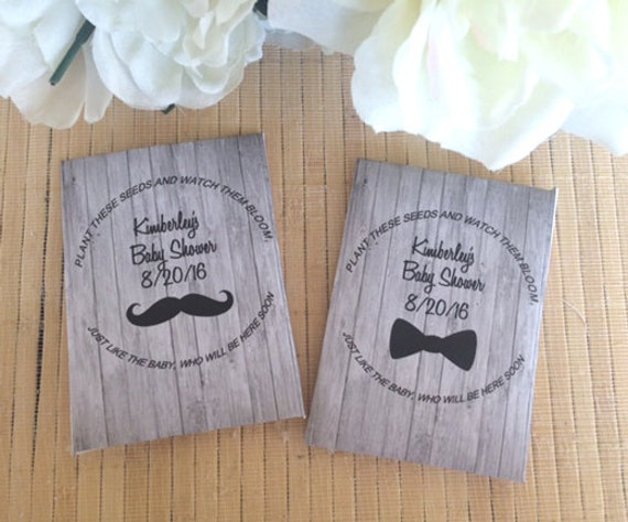 Baby Shower Favors Mustache 35 baby shower seed packet favors mustache baby shower | etsy
