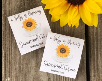high tea favors, sunflower baby shower favors, baby shower tea packets with sunflowers, tea for baby showers, tea favors for baby