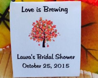 40 Tea Packet Bridal Wedding Shower Favors, fall wedding favors, bridal shower tea, fall leaves wedding favors, fall shower favors
