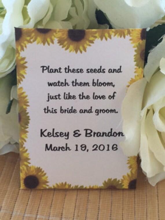 sunflower sunflower seeds fall favors 50 Custom Yellow Sunflower Border Fall Personalized Wedding Seed Packet Favors fall wedding favors
