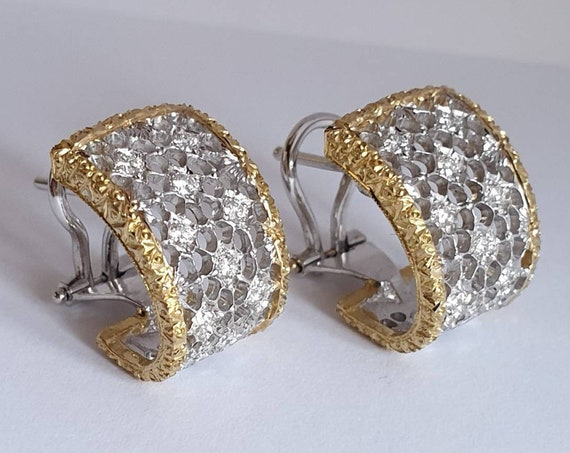 """Stile Fiorentino"" earrings in 750° gold and brilliant cut diamonds"