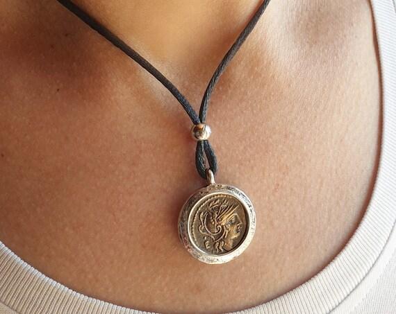Silver pendant 925th with ROMANA MONETA in bronze