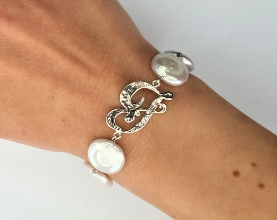 Silver Letter bracelet 925th and Freshwater Pearls