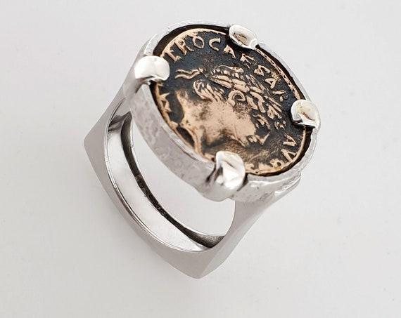 Silver 925th ring with BRONZE ROMAN MONETA