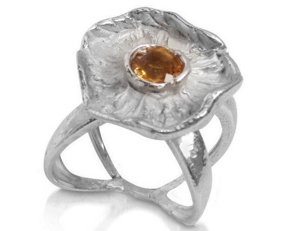 """""""WINTER FLOWERS"""" ring with Quartz Citrino in Silver 925"""