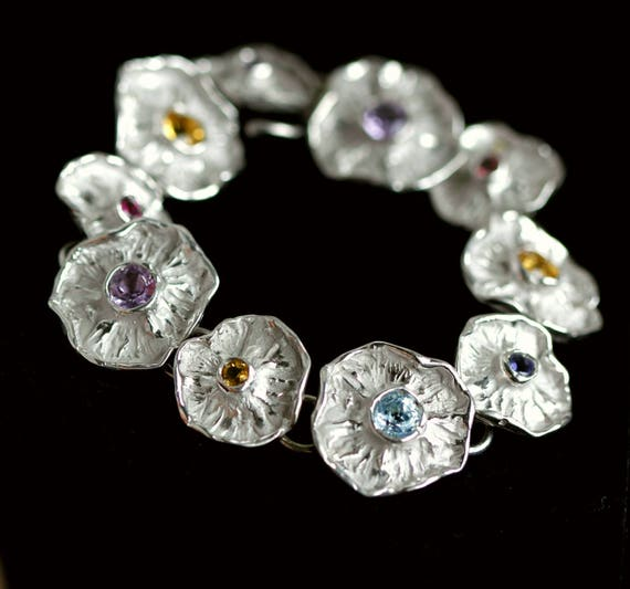 """""""WINTER FLOWERS"""" collection bracelet with natural stones and silver 925th"""