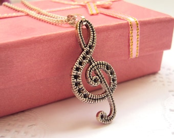 Treble Clef Necklace Music Necklace Music Note Necklace Music Teacher Gift Music Lover Necklace Music Gift Coworker|gift|for|Singer