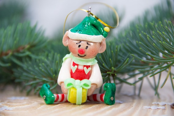 Polymer Clay Christmas Decorations.Polymer Clay Christmas Ornaments Christmas Elf Ornament Elves Decoration Ornaments Christmas Stocking Christmas Tree Xmas Gift Her