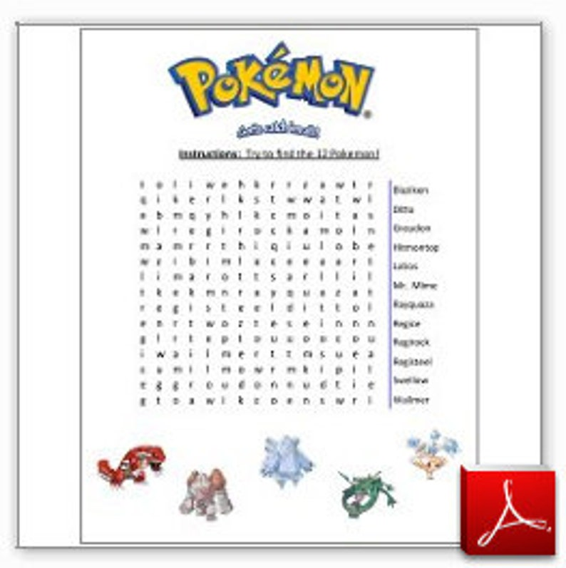 graphic regarding Pokemon Word Search Printable called Printable Pokemon Wordsearch Activity - Boys or Women of all ages Birthday Celebration Video game - Instantaneous PDF Down load