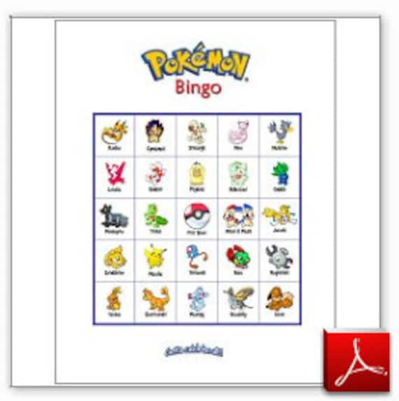 20 Printable Pokemon Bingo Game Cards