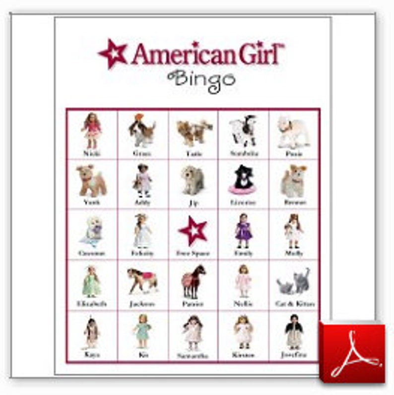 photograph relating to American Girl Printable identify 40 Printable American Woman Bingo Playing cards - Females Birthday Get together Video game - Instantaneous PDF Down load