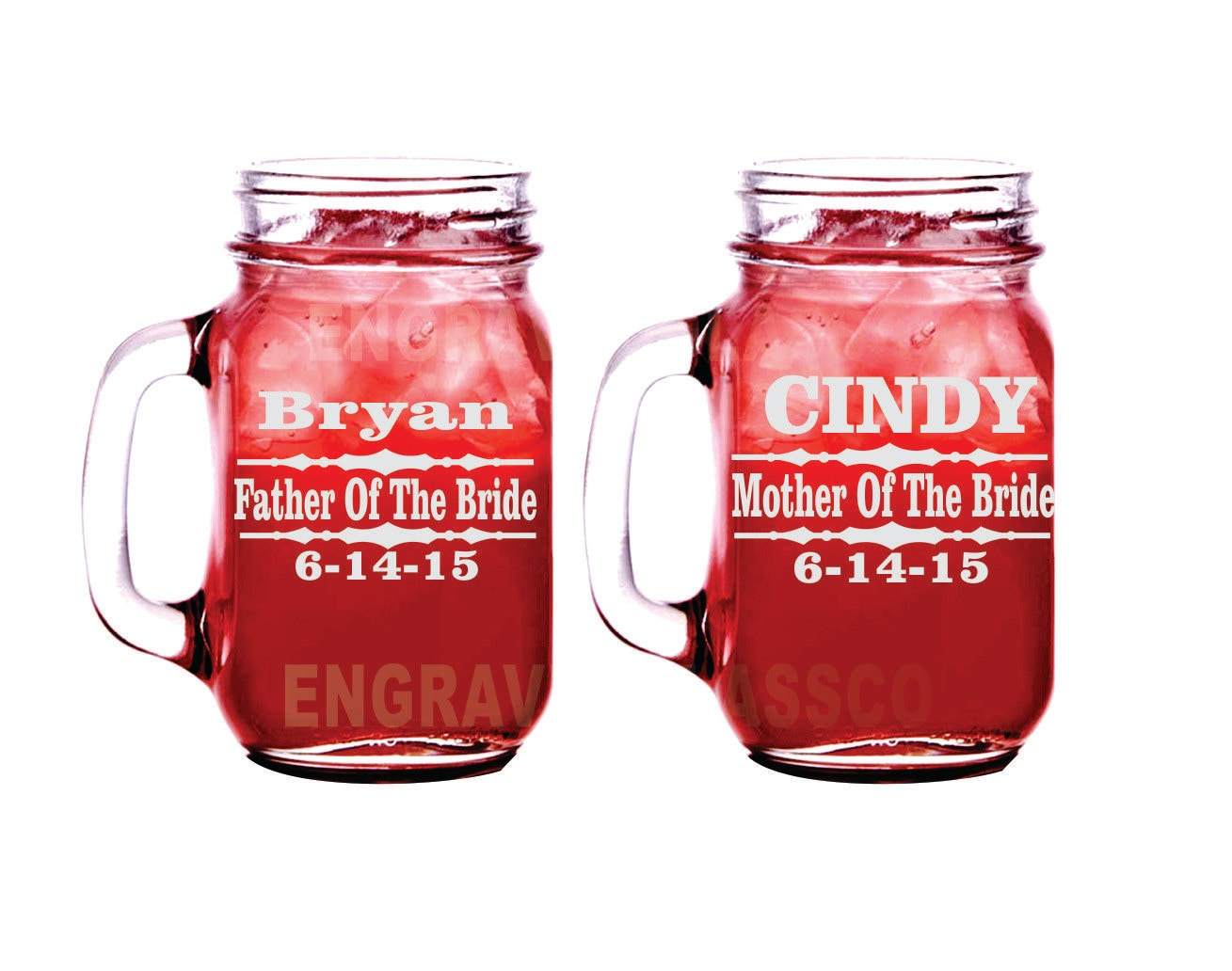 Mother And Father of the Bride Set Of 2 Glasses Engraved