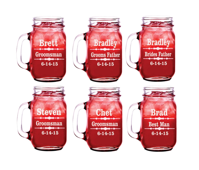 5 Bridesmaid Mason Jar Groomsman Mason Jar Set Of 5   Etsy