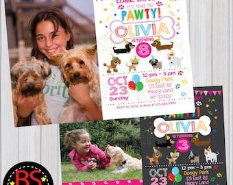 Puppy Birthday Invitation , Dog Birthday Party , Dog Invitation, Puppy party invitation