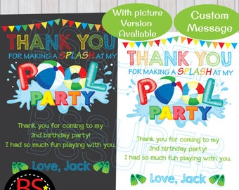 Swimming Pool Beach Personalized Party Thank You Cards