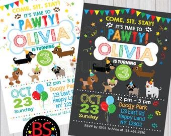 Puppy Party Invitation , Puppy Birthday Party , Puppy Party Invitation, Dog party, puppy birthday invitation