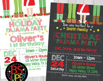 a9877263f8 Christmas pajama party invitations