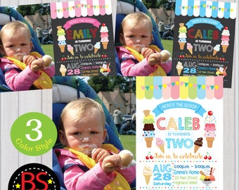 Ice Cream Invitation, Ice Cream Party Invitation, Ice Cream Birthday Invitation, Summer Party Invitation