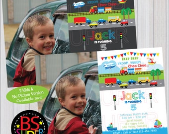 Transportation Birthday Invitation, Transportation Invitation, Car, Truck, Plane, Train, Ship Birthday Party invite