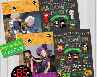 HALLOWEEN PARTY Invitation, Halloween Birthday Party invitation, Halloween invitation, Costume Party Invitation, for twin and sibling