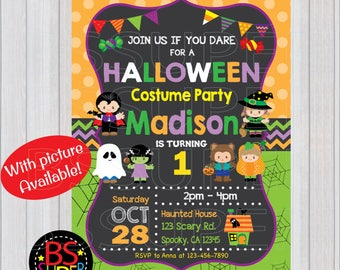 Halloween Invitation, Kids Halloween Birthday Party, Costume Party invitation, Not So Scary Halloween Party invite