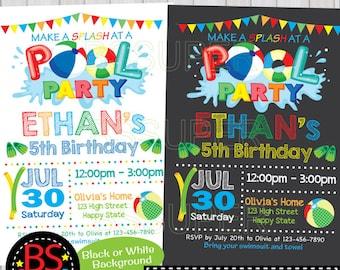 POOL PARTY Invitation Chalkboard Pool Party Birthday Invite Swim