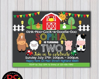 FARM BIRTHDAY Invitation, Farm Birthday Party invitation, Farm Party invite, Barnyard birthday party, Farm birthday chalkboard