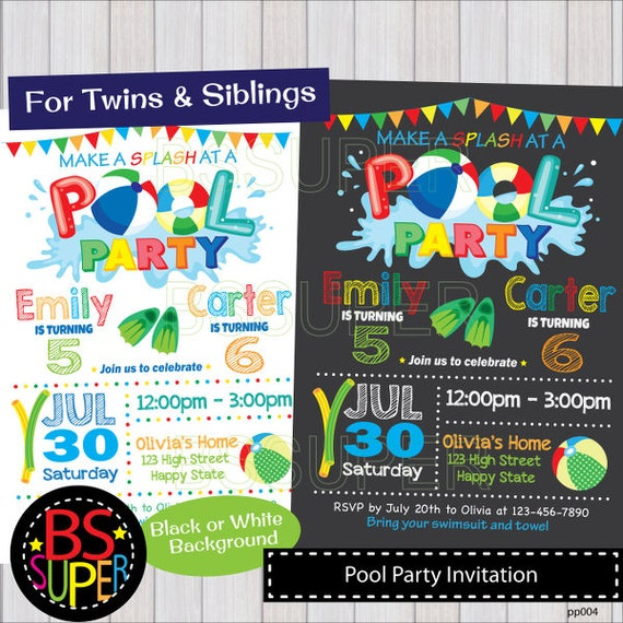 Pool Party Invitation Two Kids Pool Party Birthday Etsy