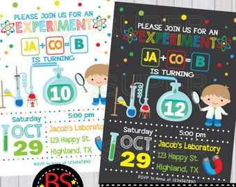 Science birthday Invitation, Science party invites, Mad Science birthday party invitation