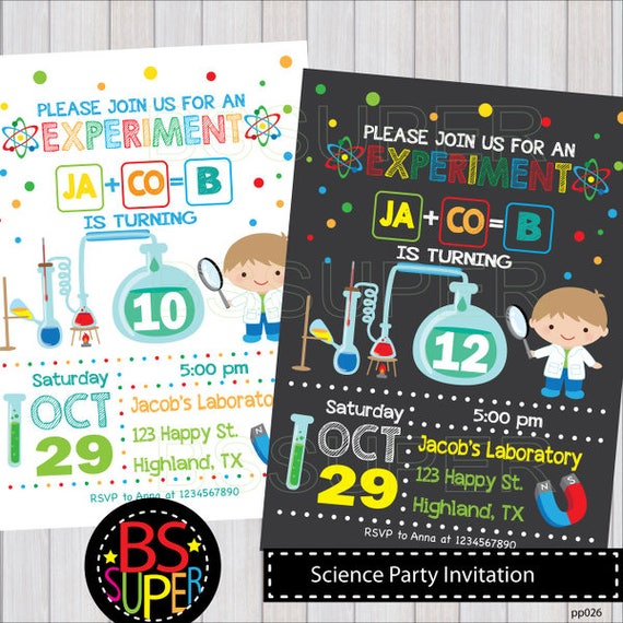 Personalised Birthday Invitations Mad Science JointParty x 5