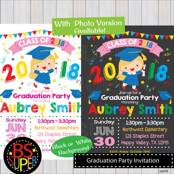 graduation party invitation kindergarten graduation invite etsy