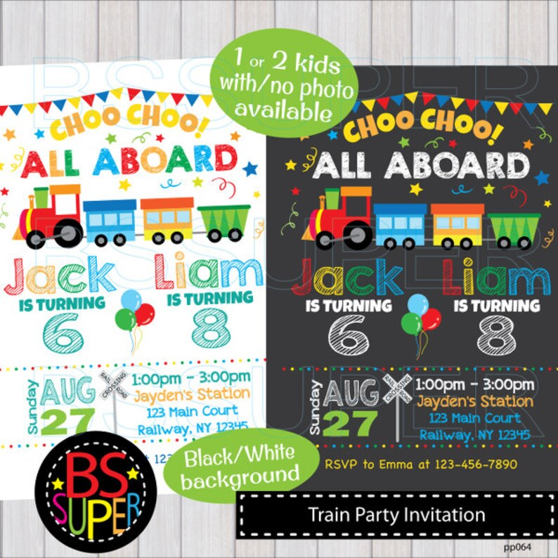 Train Birthday Invitation Party Invitations