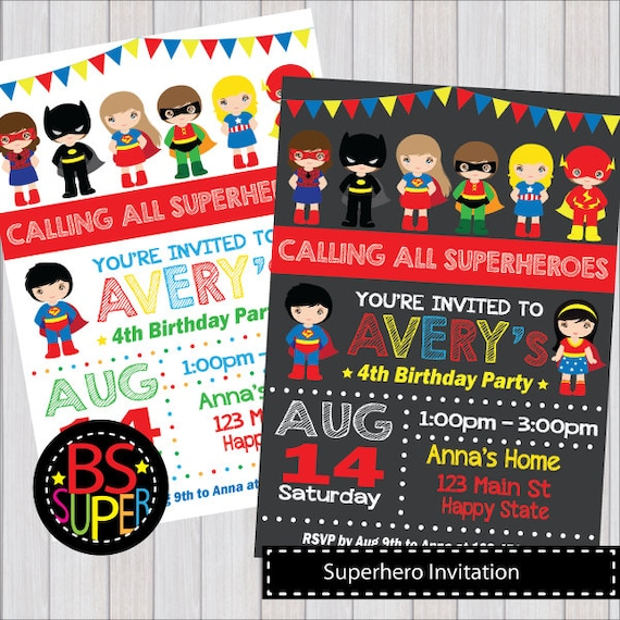 SUPERHERO Invitation Superhero Birthday Party
