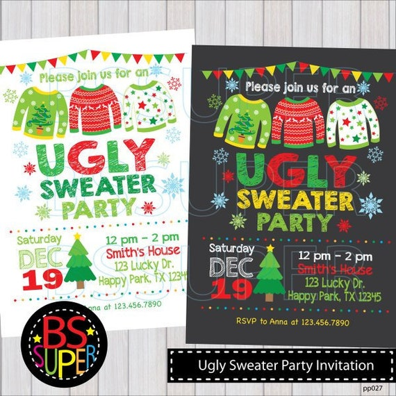 Ugly Christmas Sweater Invitations Christmas Invitations Etsy
