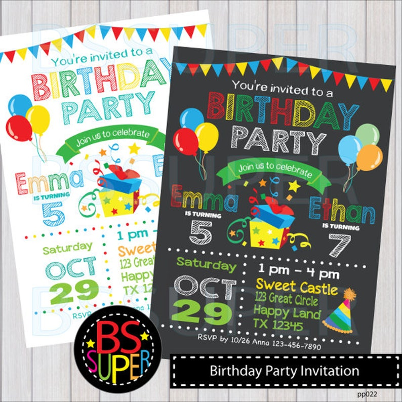 Birthday Party Invitation Sibling Invitations