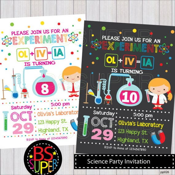 Science birthday invitation science party invites mad filmwisefo