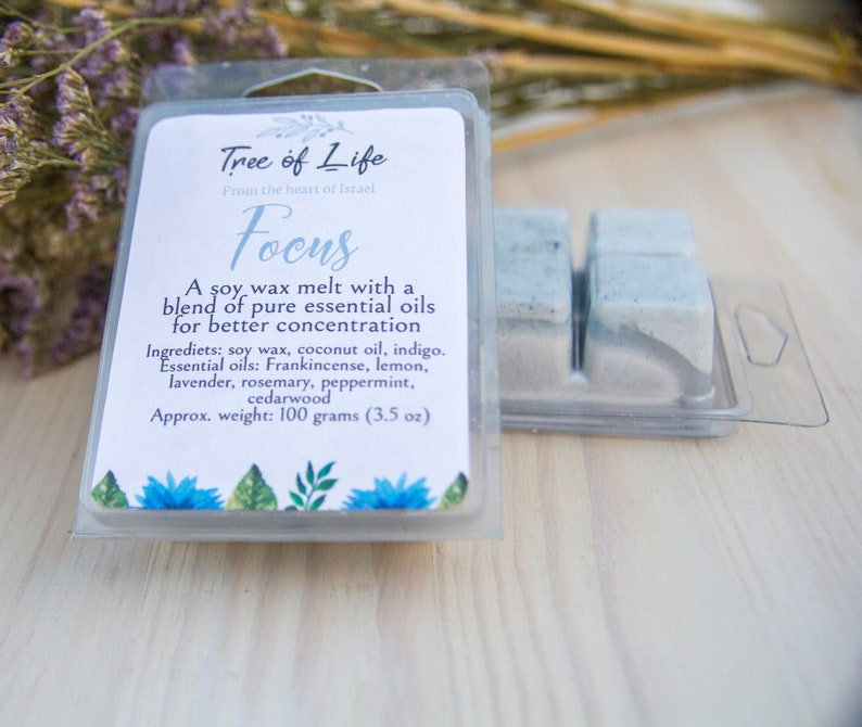 Highly scented Natural soy wax melt for concentration with Frankincense FOCUS aromatherapy essential oils for wax warmer and oil burner