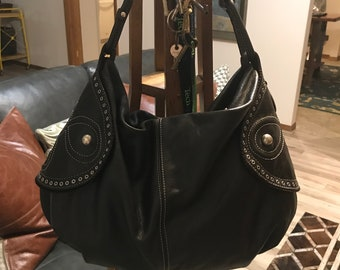 0c18b1722f Large gently used dark brown Italian leather hobo shoulder bag with silver  studs and rivets