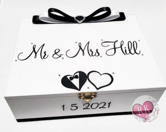 Personalised Wedding Keepsake Box Wishes Box, Keepsake Box, Trinket Box, Treasure Box, Memory Box, Jewellery Box, Wooden Box - Black & White