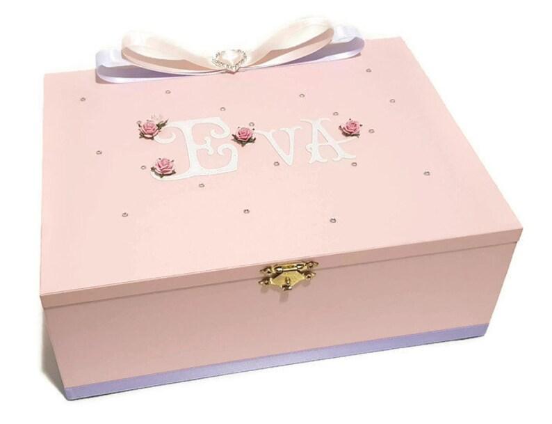 Soft Pink Keepsake Box Trinket Box Treasure Box Jewellery Box Wooden Box Baby Box Personalised Box