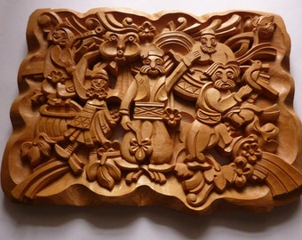 Woodcarving Wood Art Wall Hanging Home Decor Wooden Gift Woodcraft Woodworking Natural Color Handmade 2323 X 1772