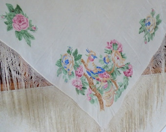 Vintage Ivory Piano Shawl Exotic Birds Flowers Screen 58x57