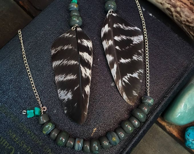 Featured listing image: Feather Earrings and matching glass necklace set- handcrafted glass beads, cruelty free feathers