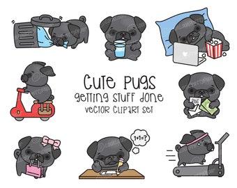 Premium Vector Clipart Kawaii Pug Cute Pugs Planning Etsy